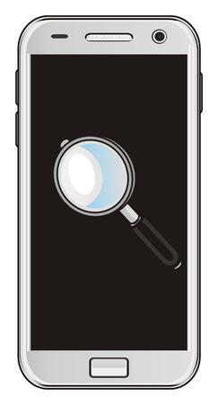 mobile with magnifier Reklamní fotografie