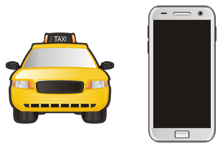 yellow taxi with smartphone