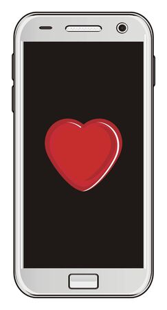 mobile with red heart on the screen