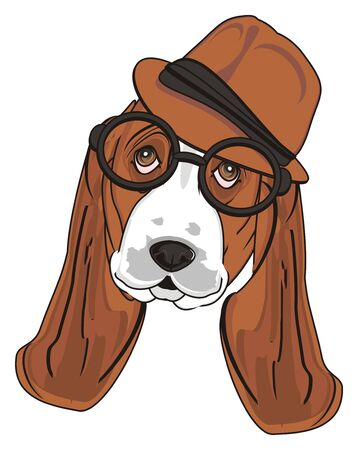 barking: snout of basset hound in black glasses and brown hat Stock Photo