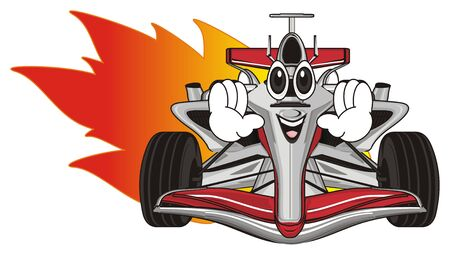 funny face of red formula one with fire