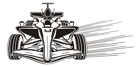black and white bolid with lines of speed