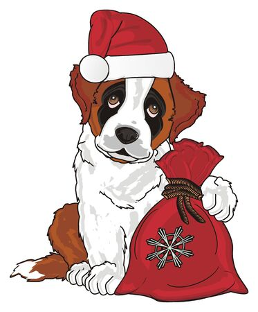 st. bernard in christmas hat and bag Stock Photo