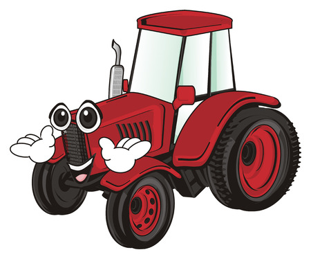 red tractor with hands