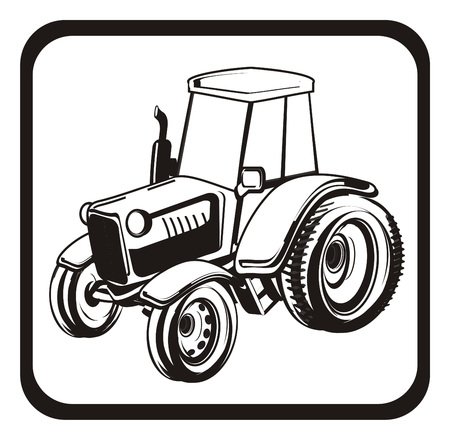 not colored tractor on the road sign Stock Photo