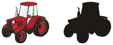red tractor with solid black tractor