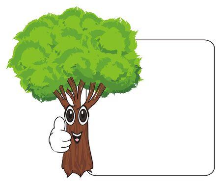 lachende boom met schone banner Stockfoto
