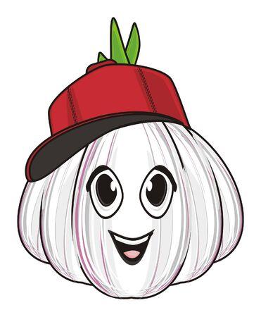 happy face of garlic in cap