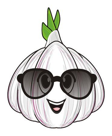 face of garlic in sunglasses
