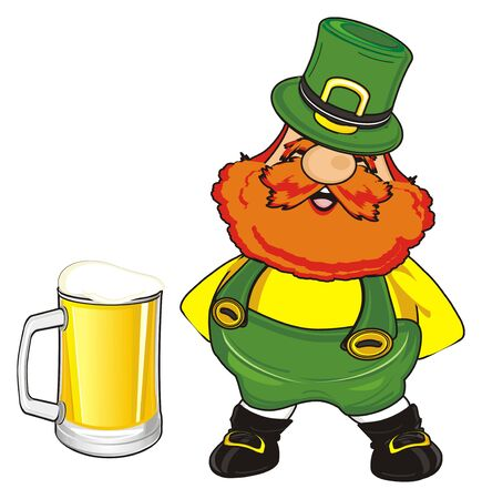 happy st. Patrick stand near the large glass of beer