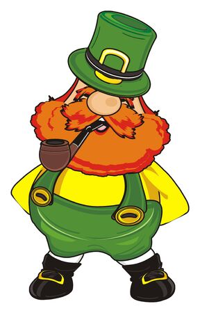 happy st. patrick stand and smoke a pipe