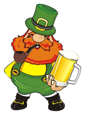 happy st. patrick with pipe and beer