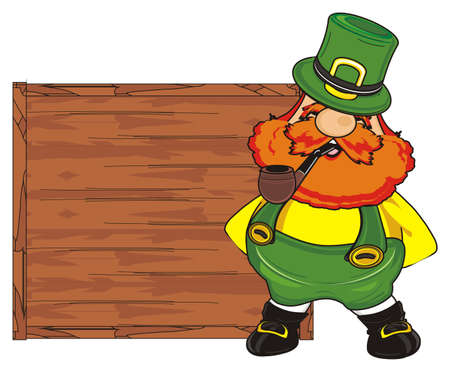st. Patrick with pipe stand near an empty wooden banner