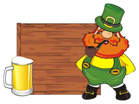 st. Patrick with wooden banner and glass and pipe Stock Photo