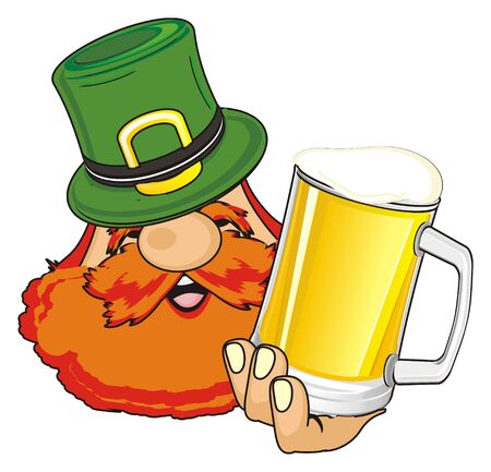 head of happy st. Patrick with glass of beer Stock Photo