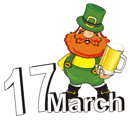 happy st. patrick stand with beer on the date 17 march