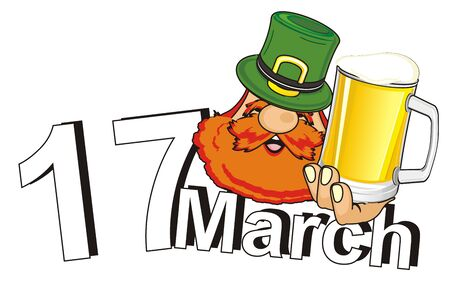 head of st. patrick with beer and date of his holiday