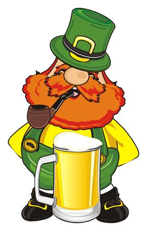 happy st. Patrick smoke a pipe next to the glass of beer