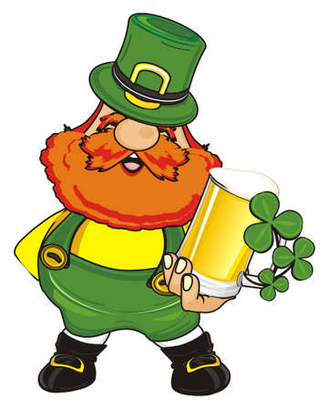 happy st. Patrick hold glass with clover