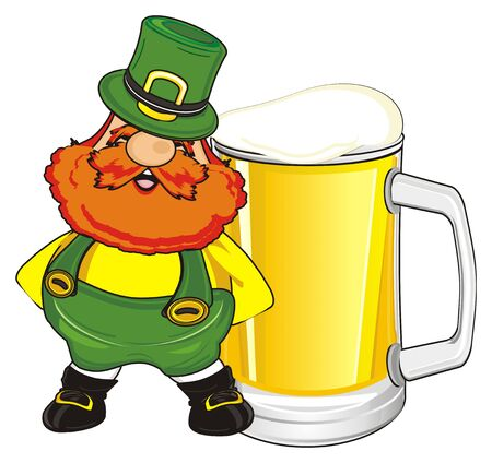 happy st. Patrick with glass of yellow beer Stock Photo