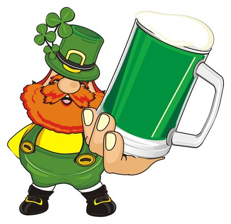 st. Patrick and large glass of beer Stock Photo