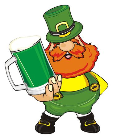 funny st. Patrick stand and holda glass of green beer