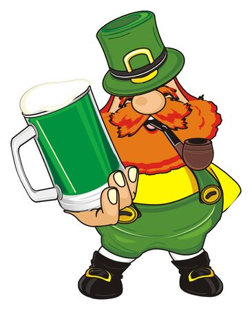 smiling st. Patrick smoke a pipe and hold a beer Stock Photo