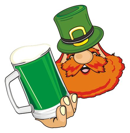 head of st. patrick with green beer