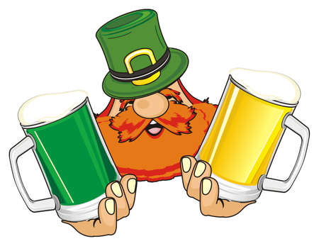 face of st. patrick with glasses of beer