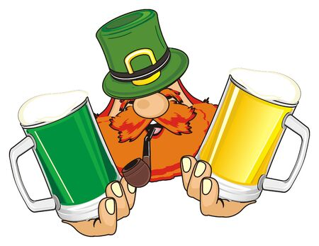 head of st. Patrick with pipe and gray beer Stock Photo