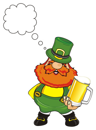 st. Patrick stand and hold a beer and think Stock Photo
