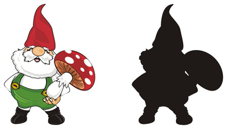 couple of different gnomes with red mushrooms