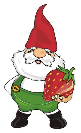 gnome hold a strawberry