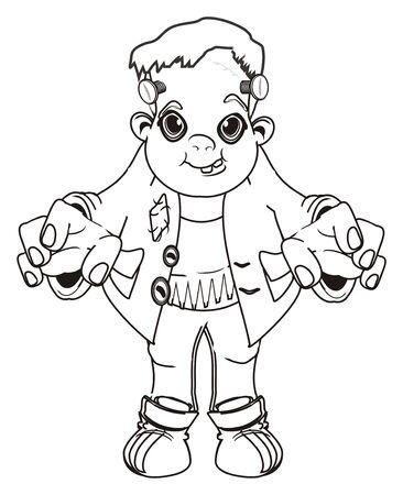 coloring happy Frankenstein