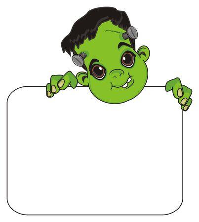 head of Frankenstein peek up from clean paper