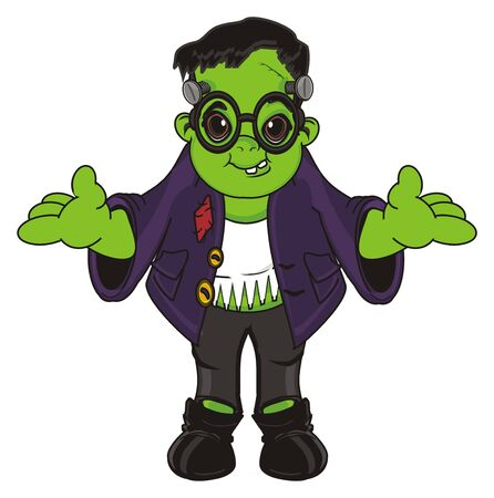 smiling Frankenstein in glasses