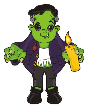 Frankenstein stand and hold a candle Stock Photo