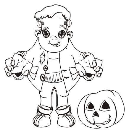 coloring Frankenstein with pumpkin