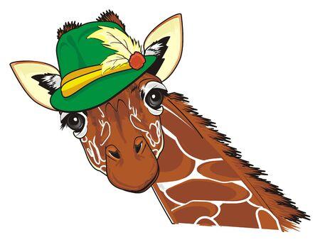 giraffe in green hat