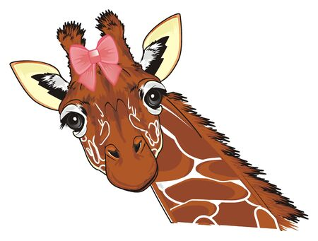 giraffe girl with a pink bow