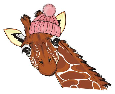 giraffe in pink warm hat