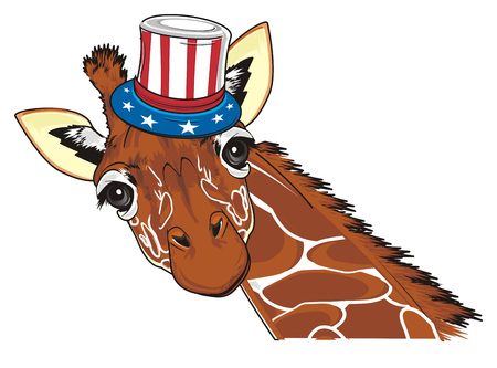 funny giraffe in hat with USA flag