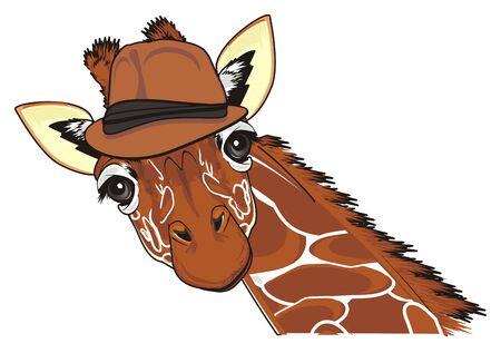 happy giraffe in hat