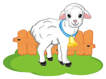 lamb with a ball stand on the grass with a fence