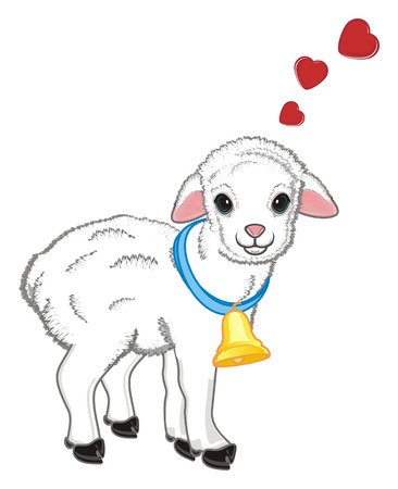 lamb witha ball stand and many hearts fly Stock fotó