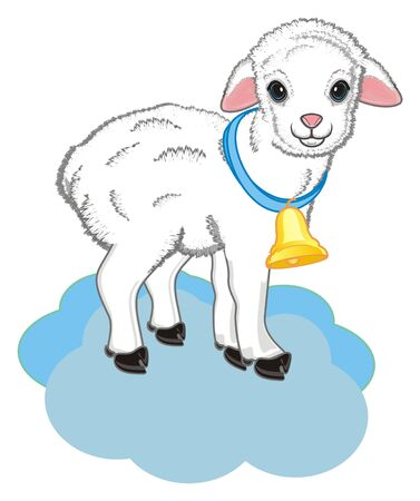 lamb with a ball stand on the cloud