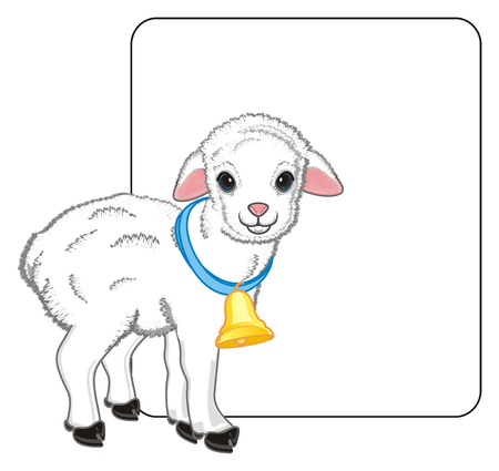 lamb with a ball and large clean paper Stock Photo