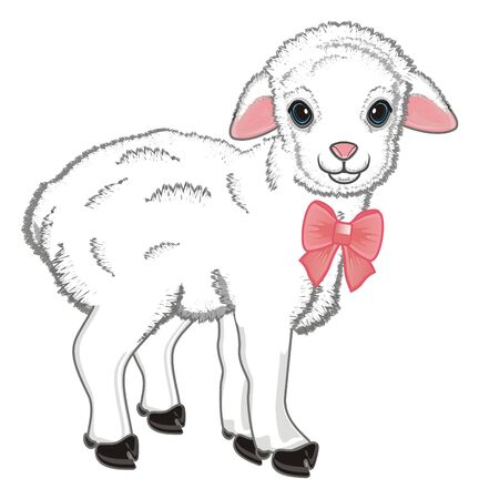 little lamb with large pink bow