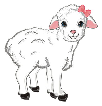 cute lamb girl with a pink bow Standard-Bild