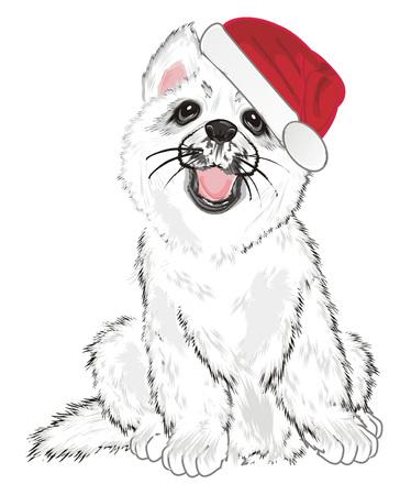 white husky in red hat Фото со стока
